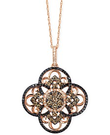 Le Vian Diamond Clover Pendant Necklace in 14k Rose Gold (7/8 ct. t.w.), Created for Macy's