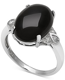 Onyx (10mm) and Diamond (1/10 ct. t.w.) Ring in Sterling Silver
