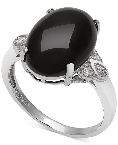 Macy's Onyx (10mm) and Diamond (1/10 ct. t.w.) Ring in Sterling Silver