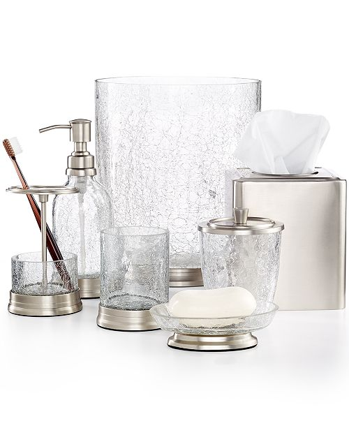 crackle glass bath accessories