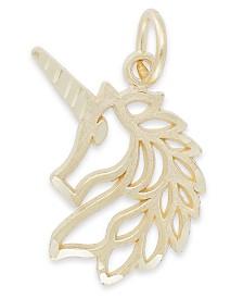Unicorn Head Charm in 14K Gold