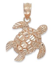 Diamond-Cut Turtle Charm in 14k Rose Gold