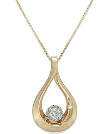 Diamond Loop Pendant Necklace in 14k Gold (1/8 ct. t.w.)