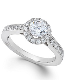 Estate Halo by Certified Diamond Engagement Ring in 18k White Gold (1-1/4 ct. t.w.), Created for Macy's
