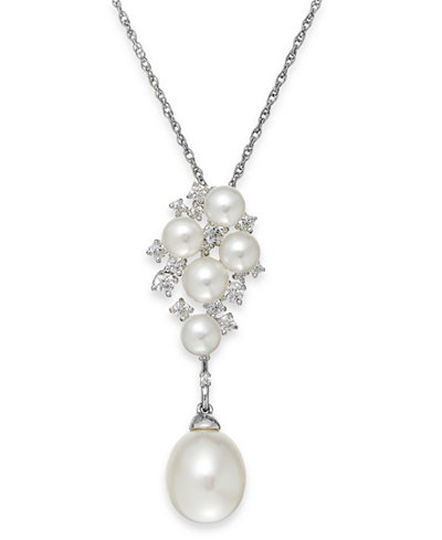 Arabella Cultured Freshwater Pearl (5 & 10mm) and Swarovski Zirconia Pendant Necklace in Sterling Silver