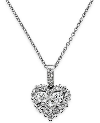 Diamond Heart Pendant Necklace in 14k White Gold or Rose Gold (5/8 ct. t.w.)