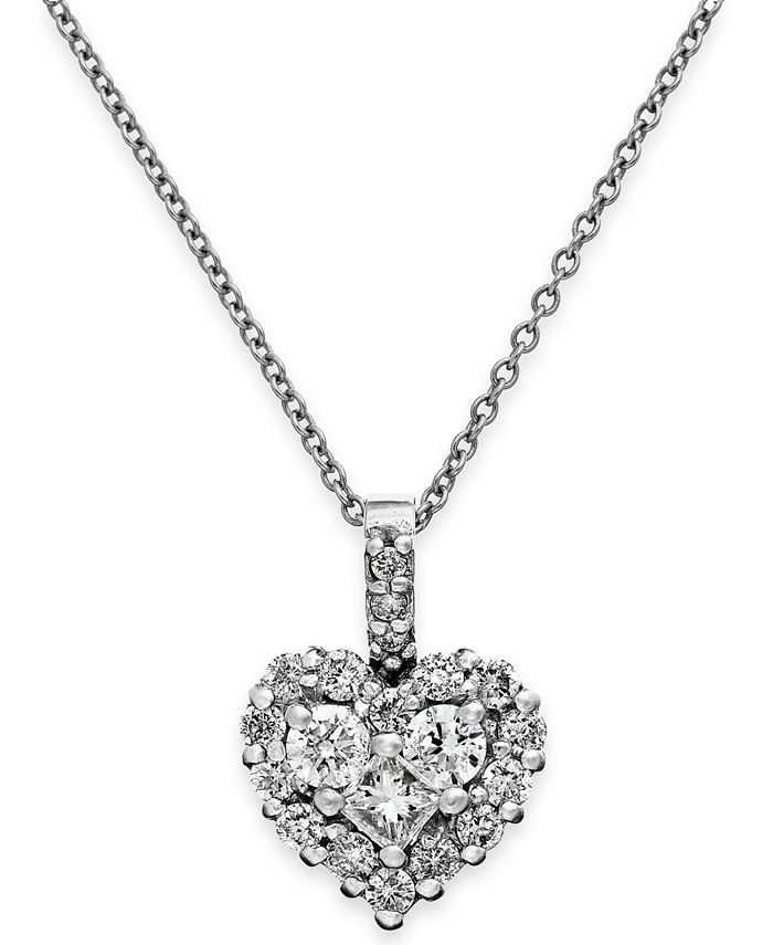 EFFY Collection - Diamond Heart Pendant Necklace in 14k White Gold or Rose Gold (5/8 ct. t.w.)