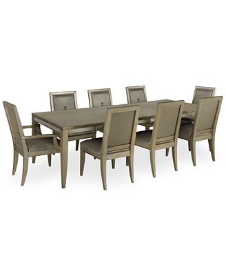ailey 9 piece dining room furniture set (dining table, 6 side