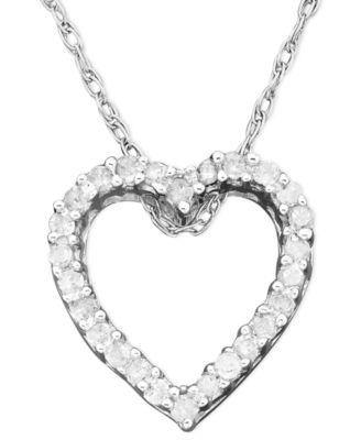 Diamond Heart Pendant Necklace in 14k White Gold 110 ct tw