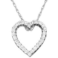 Diamond Heart Pendant Necklace in 14k White Gold