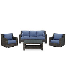 Viewport Outdoor Wicker 4-Pc. Seating Set (1 Sofa, 2 Swivel Gliders and 1 Coffee Table), Created for Macy's