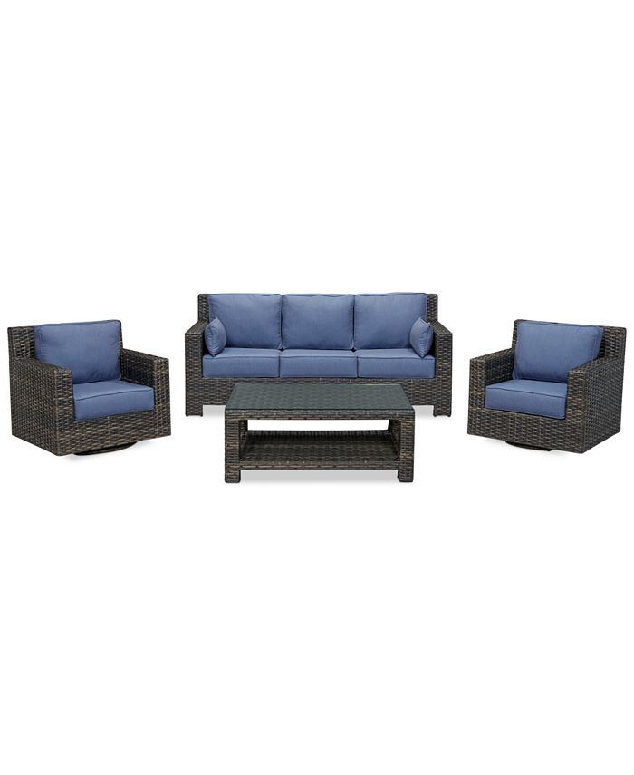 Furniture - 4-Piece Outdoor Seating Set: Sofa, 2 Swivel Club Chairs and Coffee Table
