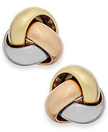 Tri-Tone Love Knot Stud Earrings in 14k Gold