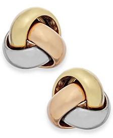 Tri-Tone Love Knot Stud Earrings in 14k Gold