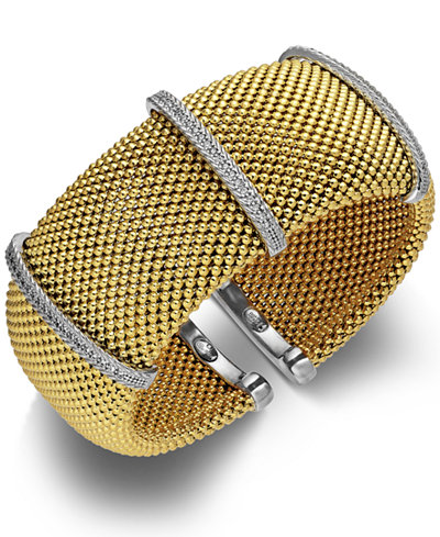 Diamond Cuff Bracelet in 14k Gold over Sterling Silver and Sterling Silver (1/2 ct. t.w.)