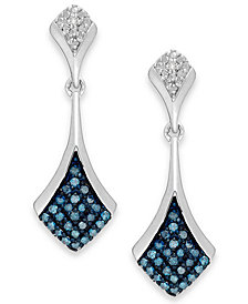 Blue and White Diamond Drop Earrings in Sterling Silver (1/5 ct. t.w.)