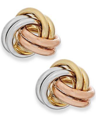 Macy S Tri Tone Love Knot Stud Earrings In 10k Gold Earrings