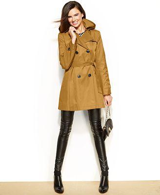 DKNY Petite Hooded Trench Raincoat - Coats - Women - Macy's