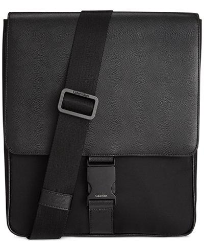 Calvin Klein Nylon and Saffiano Leather City Bag