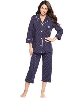 Lauren Ralph Lauren 3/4 Sleeve Classic Notch Collar Top and Capri ...