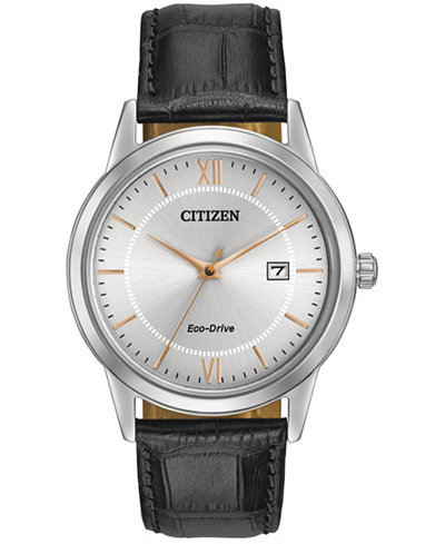 Citizen Men's Eco-Drive Black Leather Strap Watch 40mm AW1236-03A