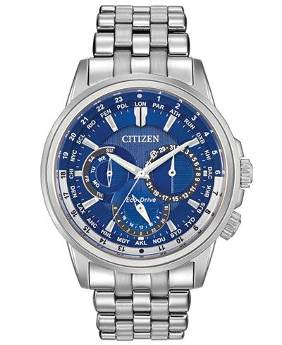 Citizen Men's Eco-Drive Calendrier Stainless Steel Bracelet Watch 44mm BU2021-51L