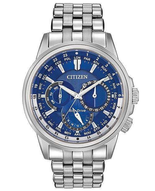 Men S Eco Drive Calendrier Stainless Steel Bracelet Watch 44mm Bu2021 51l