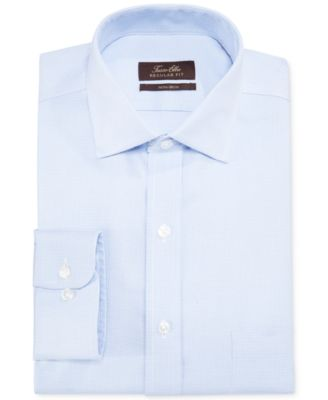Classic-Fit Non-Iron Blue Twill Houndstooth Dress Shirt, Created for Macy's