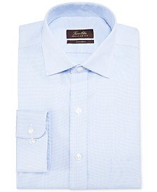 Tasso Elba Classic/Regular-Fit Non-Iron Blue Twill Houndstooth Dress Shirt, Created for Macy's