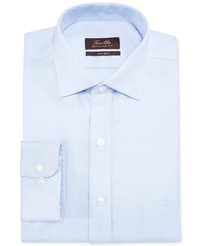 Tasso Elba Slim-Fit Non-Iron Blue Twill Houndstooth Dress Shirt, Created for Macy's