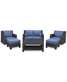Viewport Outdoor Wicker 6-Pc. Seating Set (1 Loveseat, 2 Swivel Gliders, 2 Ottomans and 1 Coffee Table), Created for Macy's