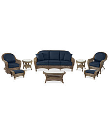 Sandy Cove Outdoor Wicker 8-Pc. Seating Set (1 Sofa, 1 Club Chair, 1 Swivel Glider, 2 Ottomans, 1 Coffee Table, and 2 End Tables) Custom Sunbrella®, Created for Macy's