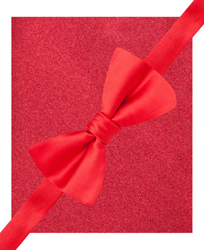Alfani Men's Red Bow Tie & Silk Pocket Square Set, Created for Macy's