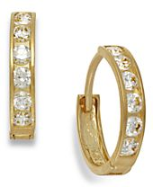 Cubic Zirconia Hoop Earrings in 10k Gold