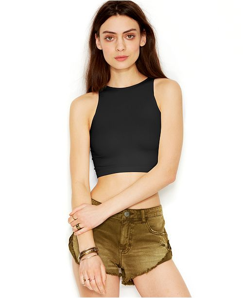 4d354ebe44 Free People Seamless High-Neck Crop Top   Reviews - Tops - Women ...