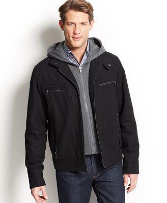 Calvin Klein Jacket Knit Hood Wool-Blend Bomber - Coats &amp Jackets