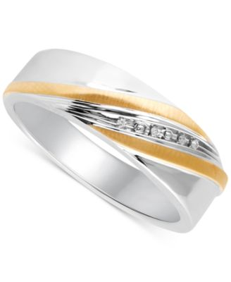 Men's Diamond Accent Wedding Band in 14k Gold and Sterling Silver