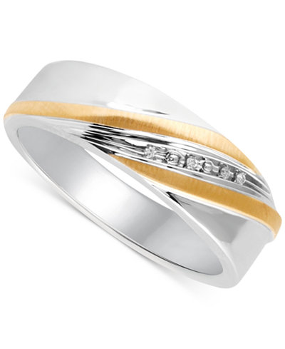 Beautiful Beginnings Men's Diamond Accent Wedding Band in 14k Gold and Sterling Silver