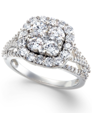 Diamond Halo Cluster Engagement Ring in 14k White Gold (2 ct. t.w.)