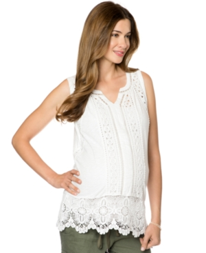 A Pea In The Pod Lace-Trim Maternity Tank Top plus size,  plus size fashion plus size appare