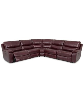 CLOSEOUT! Daren Leather 5-pc Sectional Sofa with 2 Power Recliners, Created for Macy's