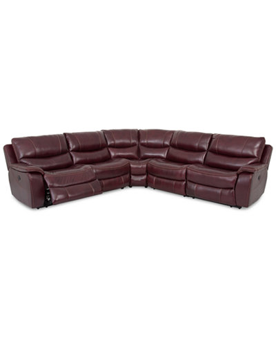 Closeout daren leather 5 pc sectional sofa with 2 power for Macy s reclining sectional sofa