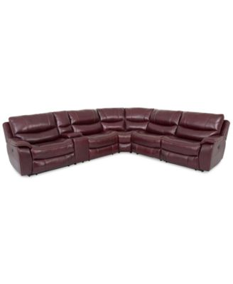 Furniture CLOSEOUT! Daren Leather 6 Pc Sectional Sofa With 3 Power  Recliners And USB Power Outlet, Created For Macyu0027s   Furniture   Macyu0027s