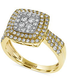 Pavé Rose by EFFY Diamond Square Ring in 14k White, Yellow or Rose Gold (3/4 ct. t.w.)