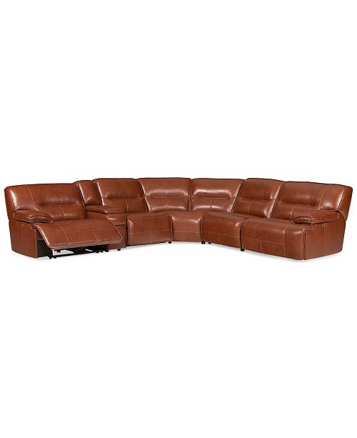 Furniture Closeout Beckett 6 Pc Leather Sectional Sofa