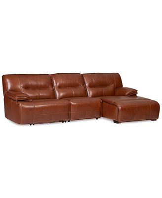 Beckett Leather 3 Piece Sectional Sofa with Chaise & 1 Power Motion Recliner Furniture Macy s