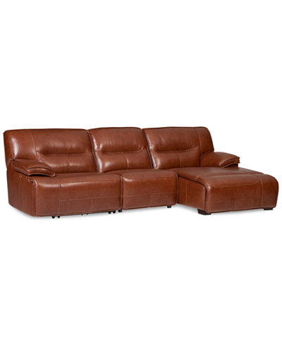 Beckett leather 3 piece sectional sofa with chaise 1 for 3 piece sectional sofa with chaise