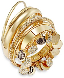 Faux-Snakeskin Pavé Disc Bangle Bracelet Set, Created for Macy's