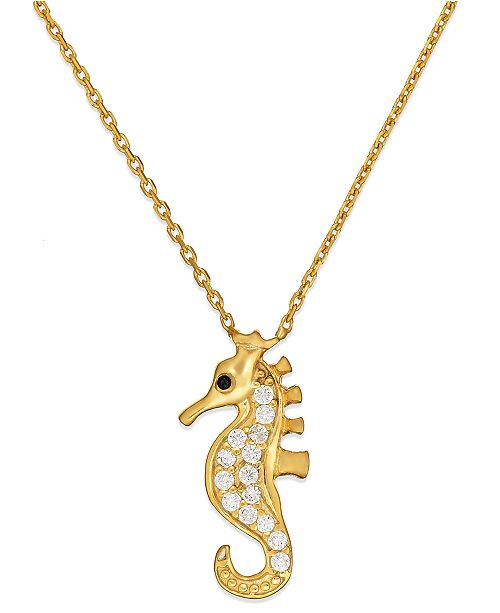 Giani Bernini Cubic Zirconia Seahorse Pendant Necklace in 18k Gold over Sterling Silver