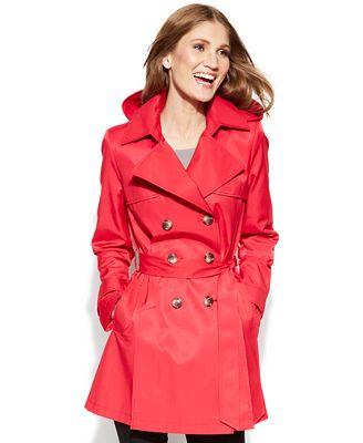 DKNY Petite Double-Breasted Trench Coat - Coats - Women - Macy's